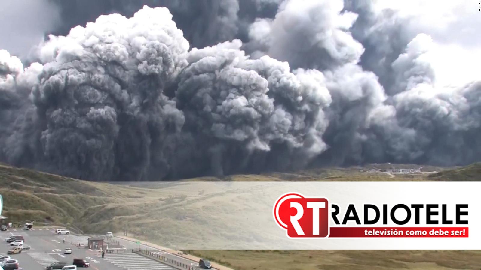Así fue la erupción del volcán Monte Aso en Japón